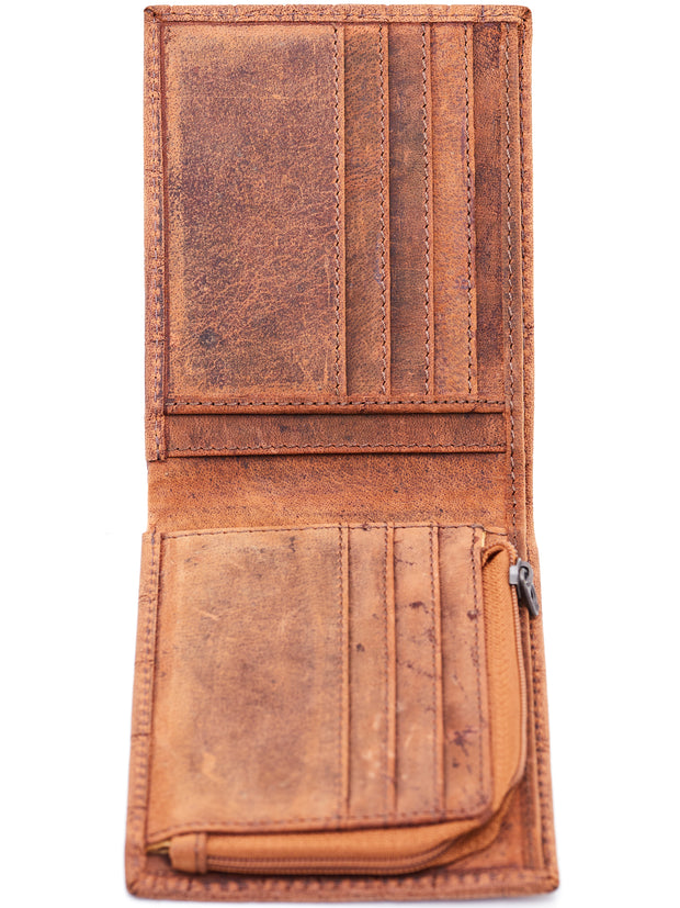 Ranks Leather Big Leather Wallets - Light Brown Animal Print