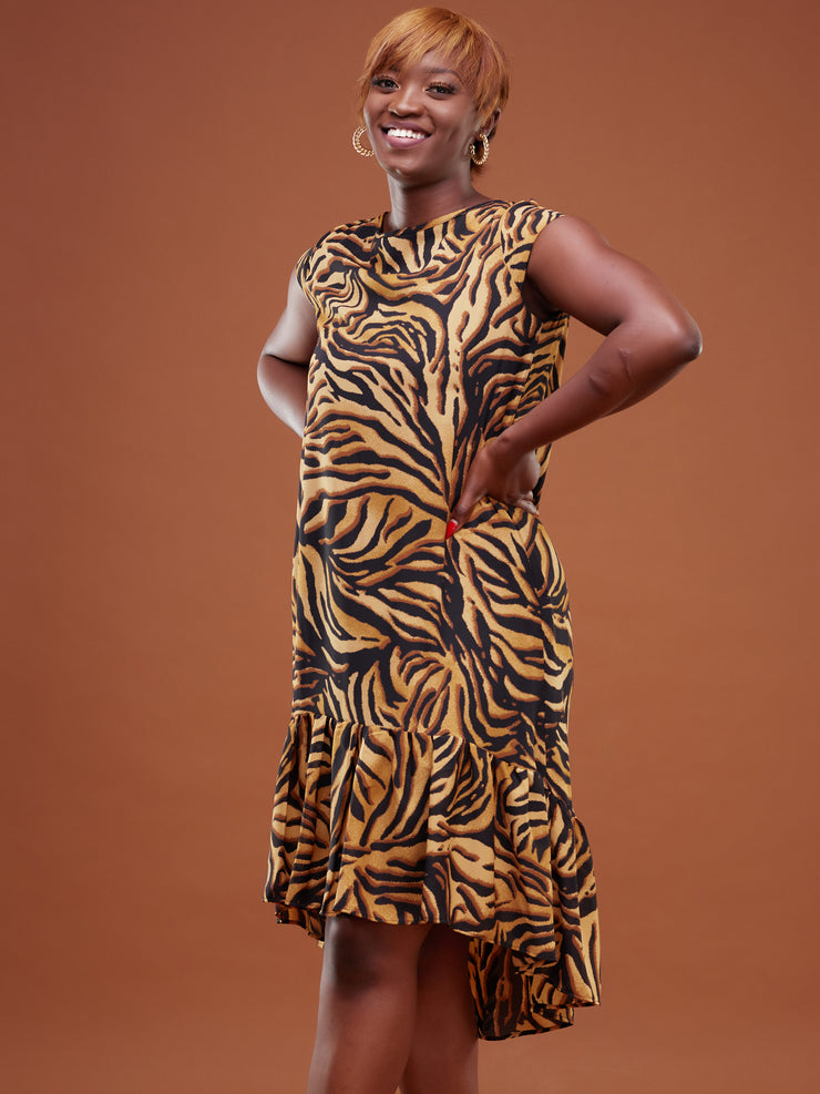 Safari Ayana Cap Sleeved High Low Tent Dress - Rust Tiger Print