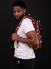 Kikafri Flapped Laptop Backpack - Red / Yellow / Black Print