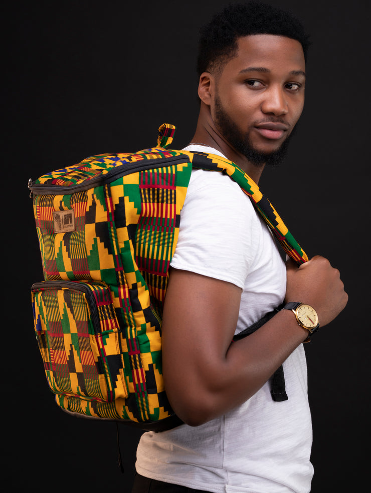Kikafri Laptop Backpack - Yellow / Green / Black Print