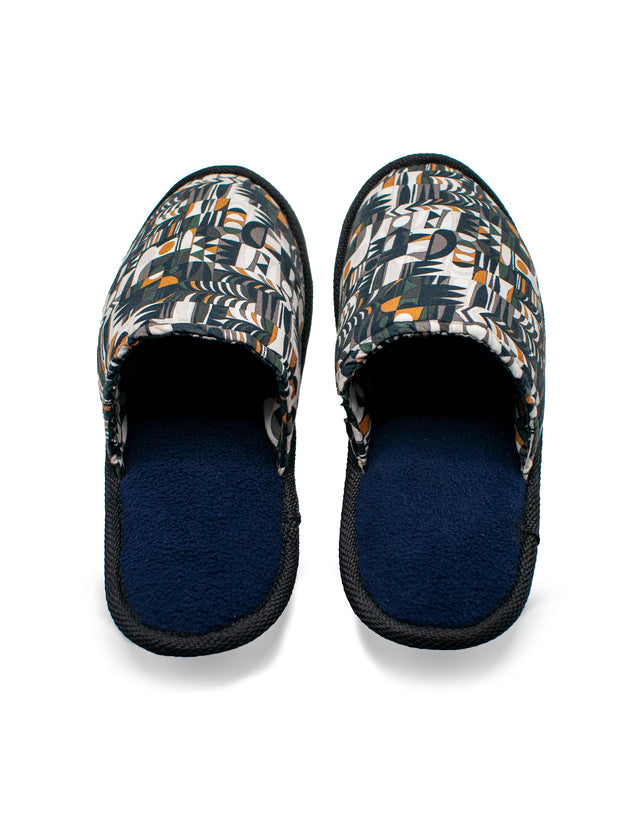 Kitu Kali Villma Bedroom Slippers - Black / White / Mustard Print