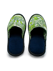 Kitu Kali Msitu Bedroom Slippers - Green Print