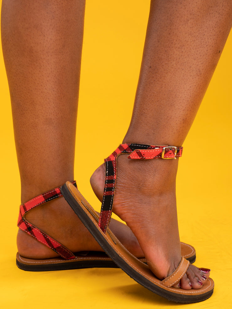 Maasai Treads Ladies' Samburu Sandals - Brown / Red Print