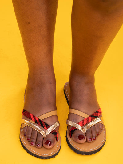 Maasai Treads Ladies' Kilifi Strappy sandals - Brown / Silver Red