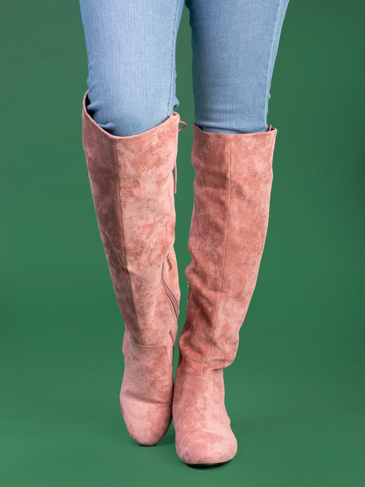 Emagma 1866 Knee High Suede Boots - Pink