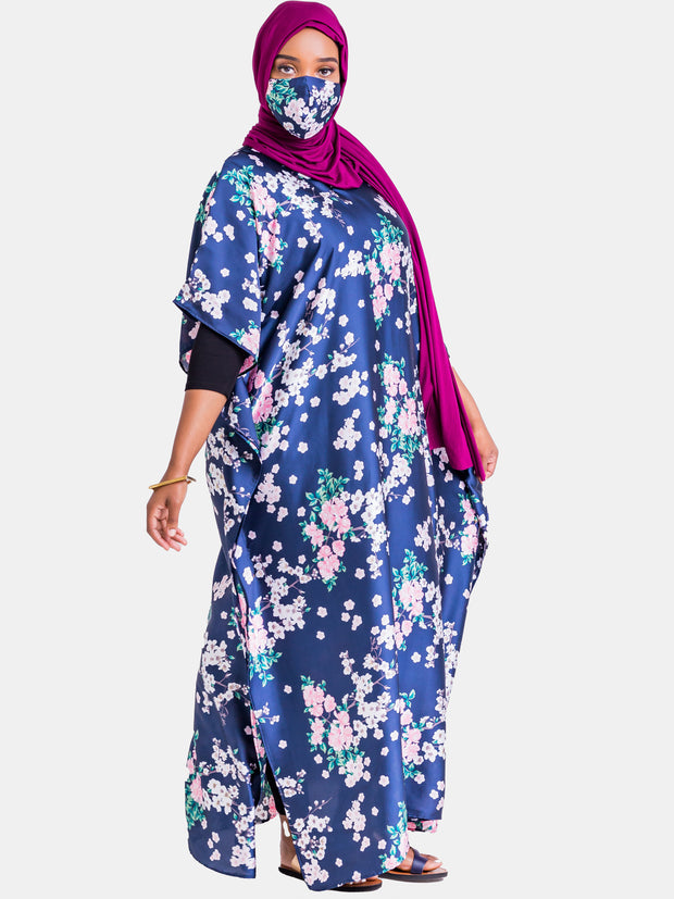Vivo Satin Maxi Dira Dress - Navy Blue Floral