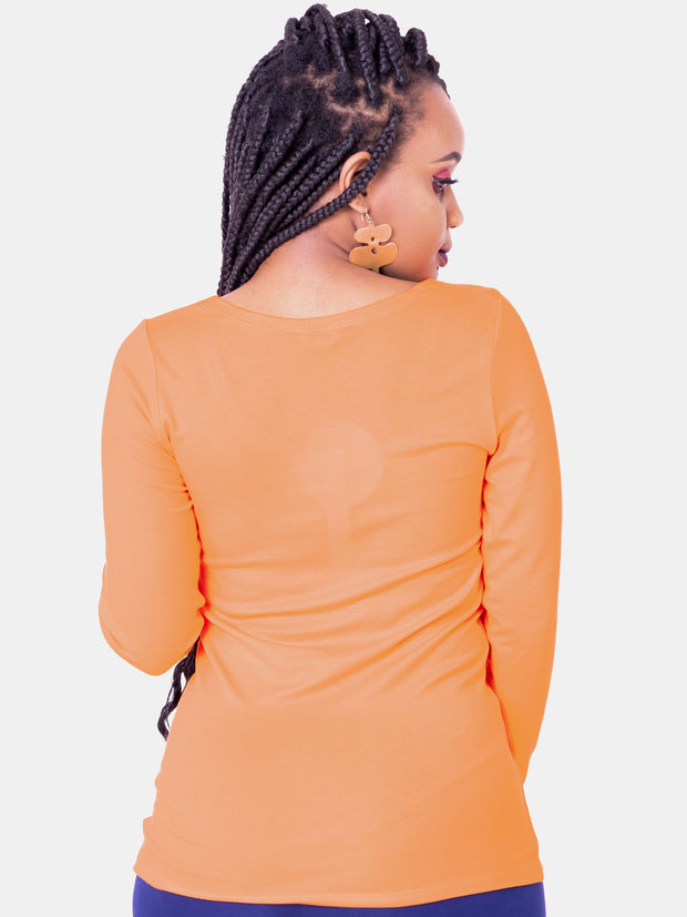 Vivo Basic Tulia Long Sleeved Top -  Orange
