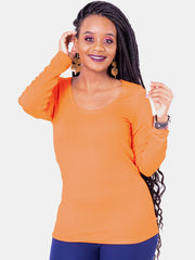Vivo Tulia Long Sleeved Top -  Orange - Shop Zetu