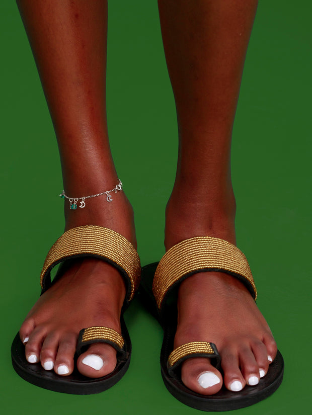 Ikwetta Toe Strap Sandals - Gold