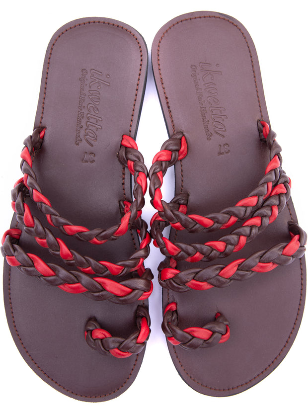 Ikwetta Braided Slip On Sandals - Dark Brown