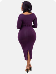 Vivo 3/4 Sleeve Kim Bodycon Dress - Eggplant