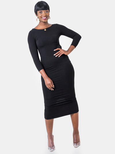 Vivo Basic 3/4 Sleeve Kim Bodycon Dress - Black