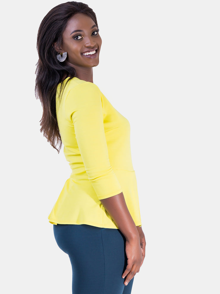 Vivo 3/4 Sleeve Amber Front Pleat Top - Yellow - Shop Zetu