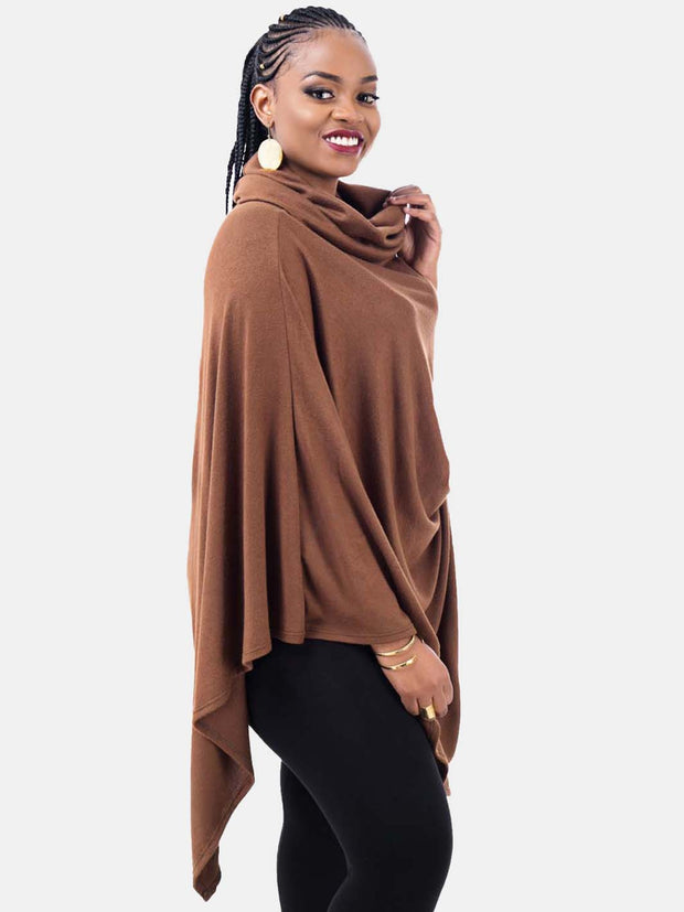 Vivo Basic Asymmetric Poncho - Brown