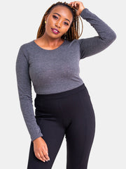 Vivo Basic Long Sleeved Bodysuit - Grey - Shop Zetu