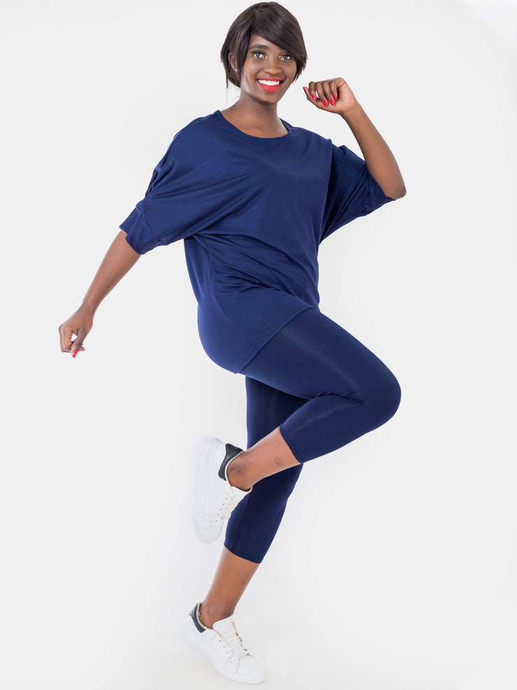 Zoya Capri Leggings - Navy Blue - Shop Zetu