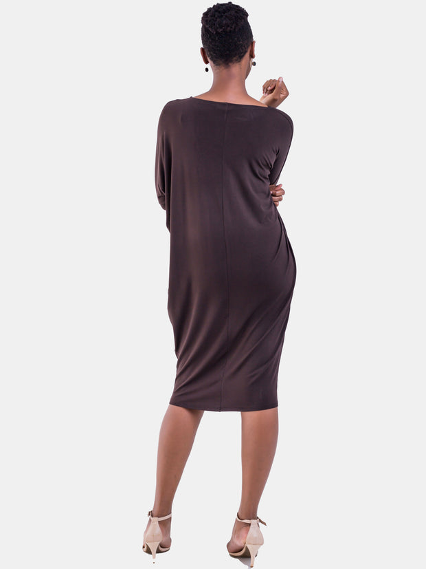 Vivo Basic Cuffed Dolman Jersey Dress - Brown