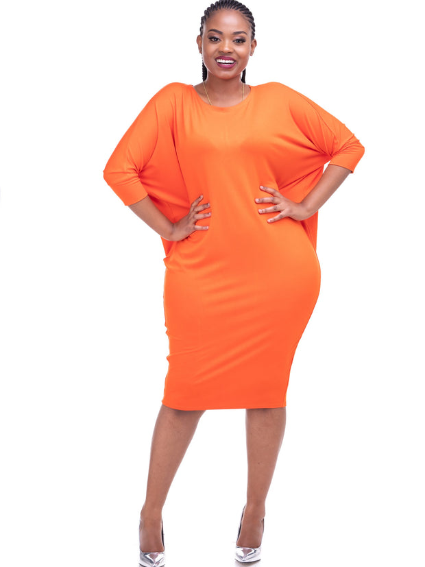 Cuffed Dolman Jersey Dress - Orange - Shop Zetu