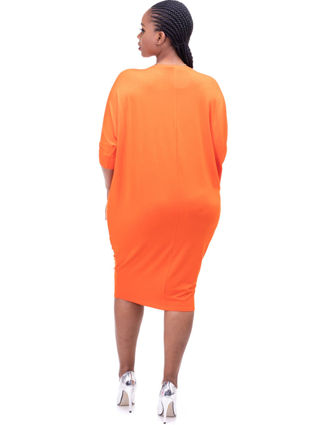 Vivo Basic Cuffed Dolman Jersey Dress - Orange