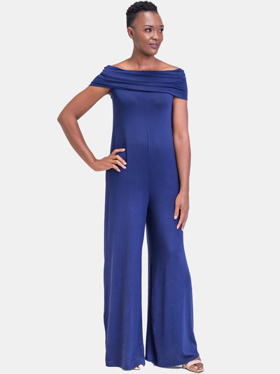 Vivo Dada Off Shoulder Jumpsuit - Navy Blue