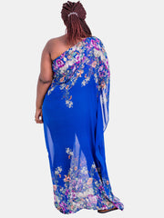 Vivo Ethel One Shoulder Kaftan - Royal Blue Print