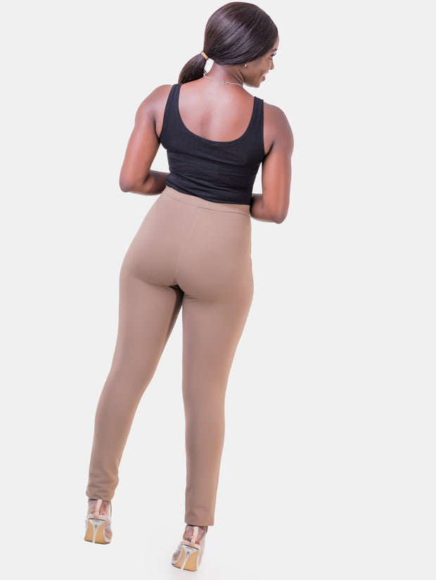 Vivo Taupe Brown Faux Pocket Leisure Pants