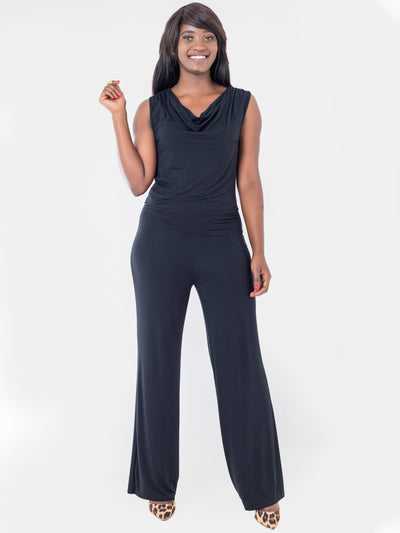 Vivo Jaime Cowl Jumpsuit - Black