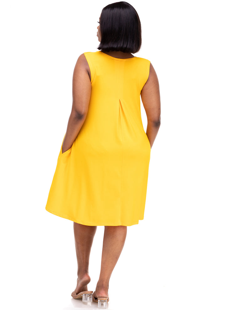 Vivo Julia Back Pleat Dress - Yellow