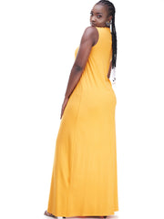 Vivo Mock Neck Tent Maxi Dress - Mustard