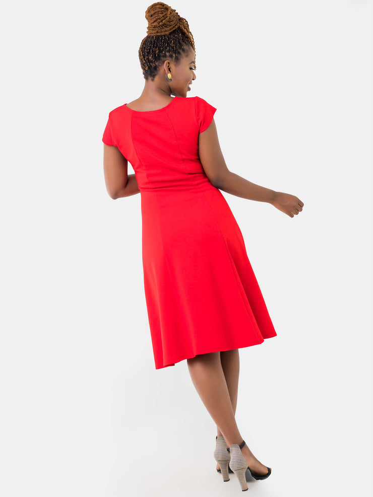 Vivo Panelled A-line Cap Sleeve Dress - Red