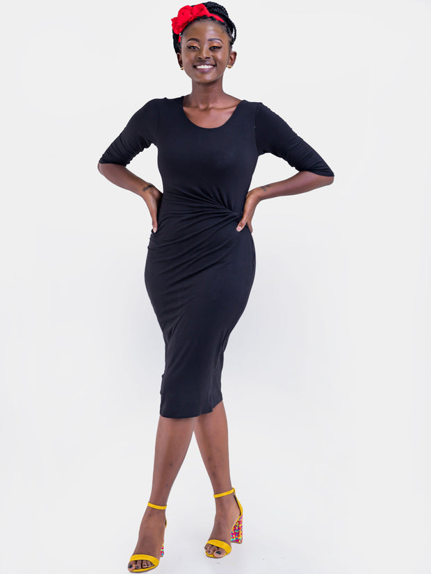 Vivo Basic Side Twist Knee Length Dress - Black