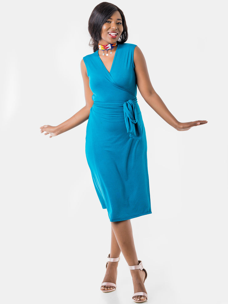 Vivo Sleeveless Wrap Knee Length Dress - Teal