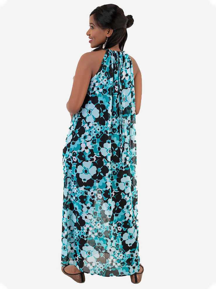 Vivo Tiffany Chiffon Kaftan Dress - Blue Print