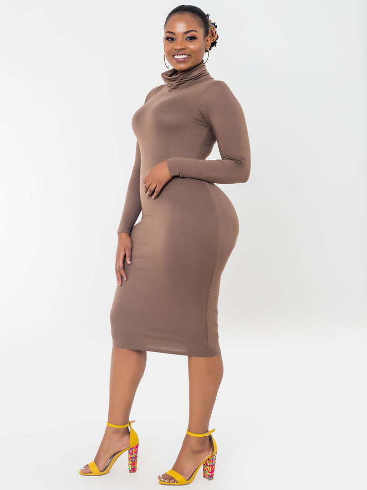 Vivo Turtleneck Bodycon   - Brown