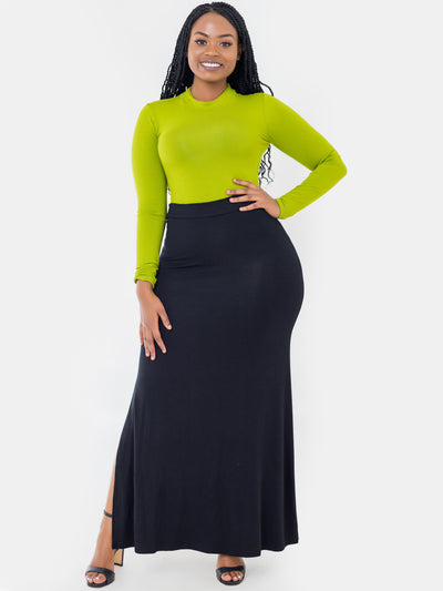 Vivo Vero Side Slit Maxi Skirt - Black