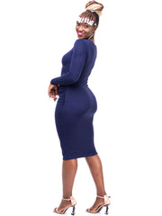 Sowairina Lea Ruched Bodycon - Navy Blue