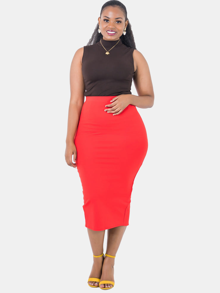 Vivo Midi Pencil Skirt - Red