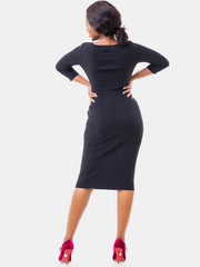 Vivo 3/4 Sleeve Abby Side Pleat Dress - Black