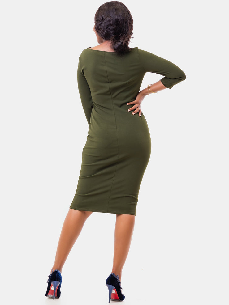 Vivo 3/4 Sleeve Abby Side Pleat Dress - Hunters Green