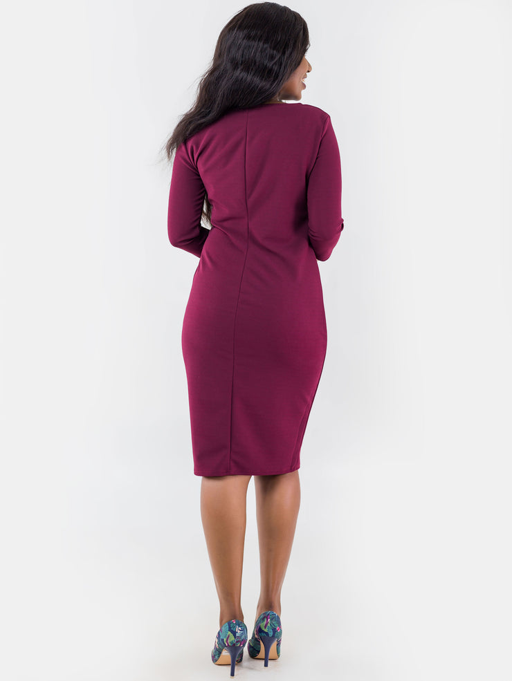 Vivo 3/4 Sleeve Abby Side Pleat Dress - Maroon