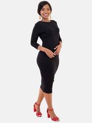 Vivo 3/4 Sleeve Reversible Bodycon - Black