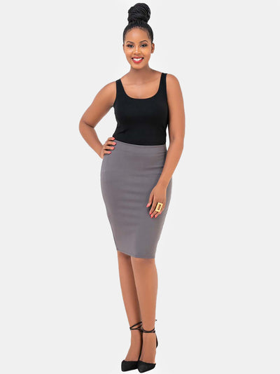 Vivo Basic Pencil Skirt - Grey - Shop Zetu