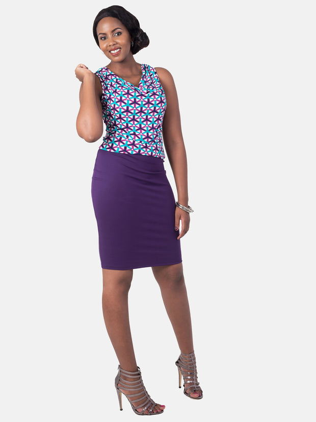 Vivo Basic Pencil Skirt - Dark  Purple