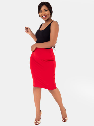 Vivo Basic Pencil Skirt - Dark Red