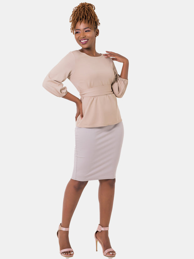 Vivo Basic Pencil Skirt - Taupe