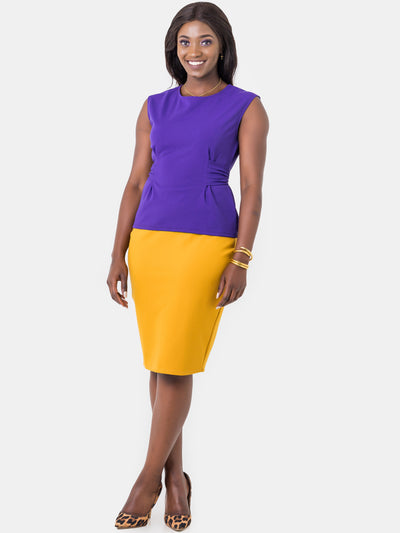 ShopZetu, Basic-Pencil-Skirt, Vivo, Mustard, Women