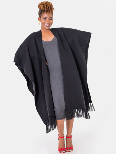Vivo Double Layered Wrap Poncho - Black