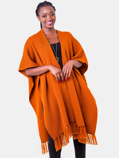 Vivo Double Layered Wrap Poncho - Rust