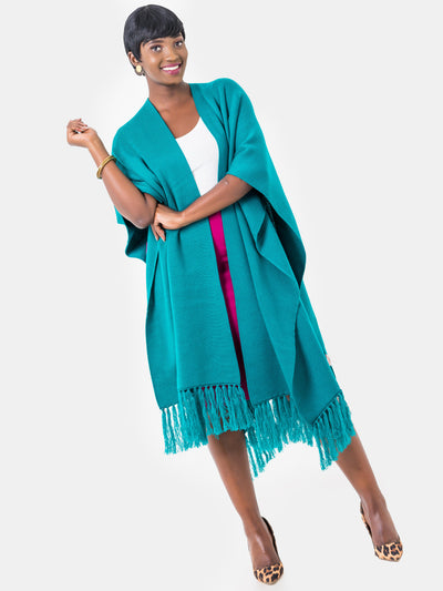 Vivo Double Layered Wrap Poncho - Turquoise