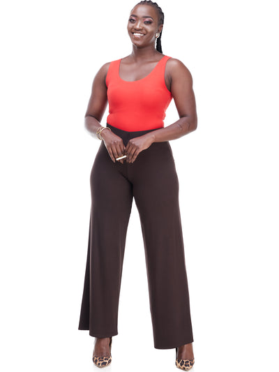 Vivo Basic Palazzo Pants - Chocolate